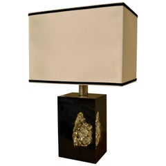 1970s Pyrite Rock Inlaid on Lucite Table Lamp