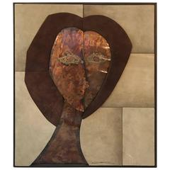 Large Mid-Century Abstract Portrait in Suede and Copper