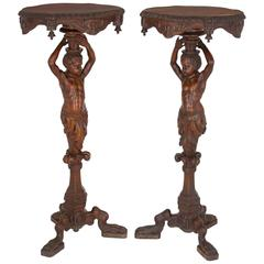 Antique Pair of Finely Hand-Carved Walnut Baroque Style Side Tables