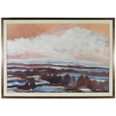 Large Framed Gouache Landscape Painting, Signed