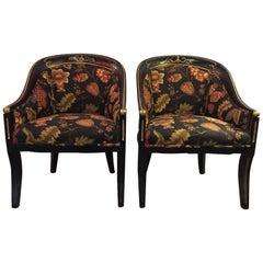 Pair Hollywood Regency Style Regency Armchairs Ebonized Frame Gilt Decoration