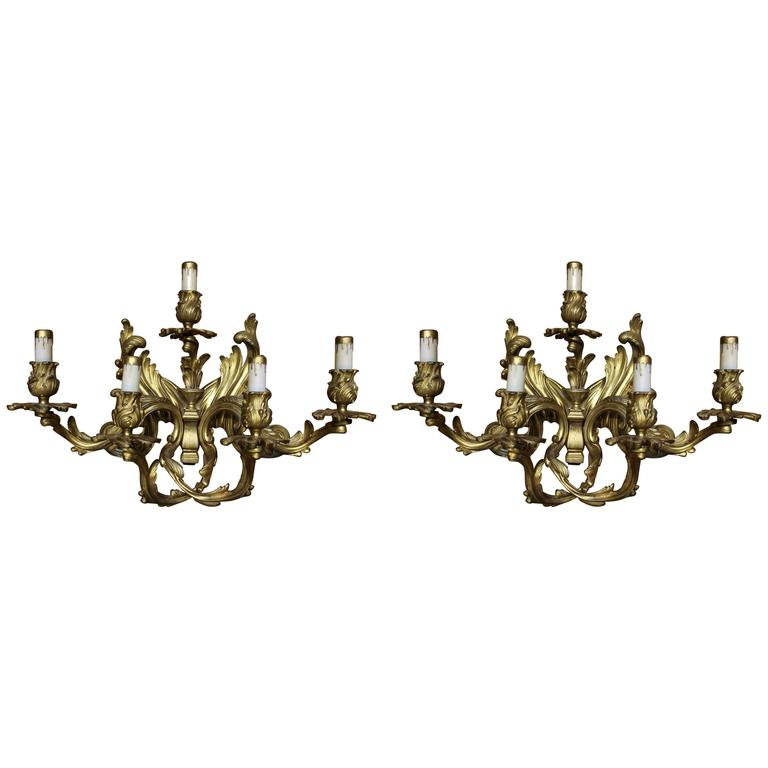 Pair of Louis XVI Style Gilt Bronze Wall Sconces For Sale
