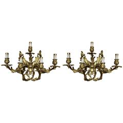 Pair of Louis XVI Style Gilt Bronze Wall Sconces