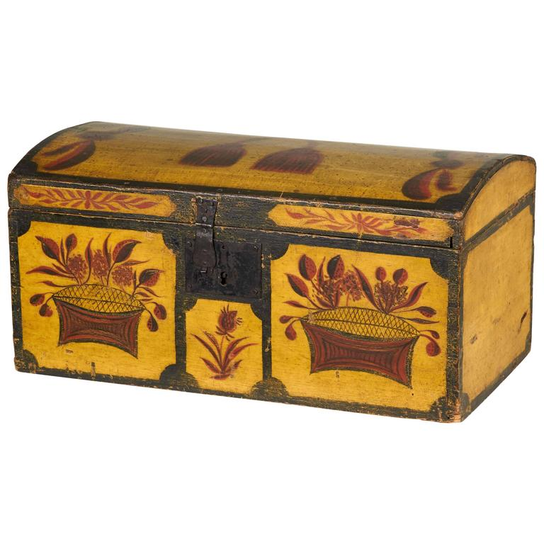 Yellow and Polychrome-Decorated Pine Dome Top Box