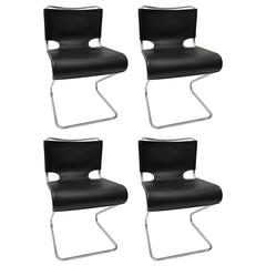 "Set of Four ""Briscia"" Side Chairs in Polished Chrome and Black Leather"