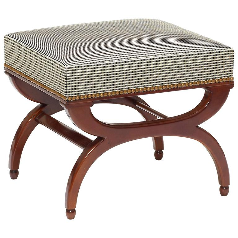 Bench or Ottoman with Curule Legs in Mahogany by Frits Henningsen For Sale