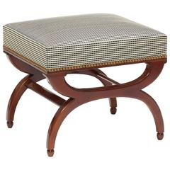 Bench or Ottoman with Curule Legs in Mahogany by Frits Henningsen