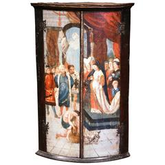 18th Century Italian Baroque Painted Wood Bowed Hanging Corner Cabinet