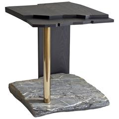 Missisquoi 03 End Table in Ash, Natural Stone and Gold Plating by Simon Johns