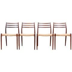 Mid-Century Modern Scandinavian Set of Four Scandinavian Rosewood Chairs N° 78