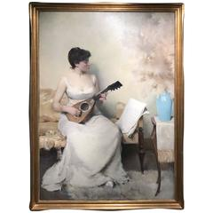 Herbert F. Denman Oil Painting Portrait of a Woman with Mandolin