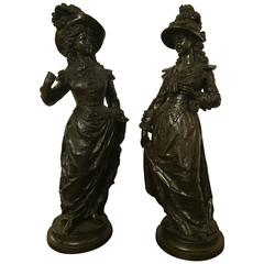 Pair of French 19th Century Bronze Sculptures of Victorian Women Signed Rancoule
