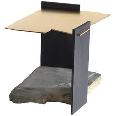 Missisquoi 04 End Table in Gold Plating, Ash and Stone by Simon Johns