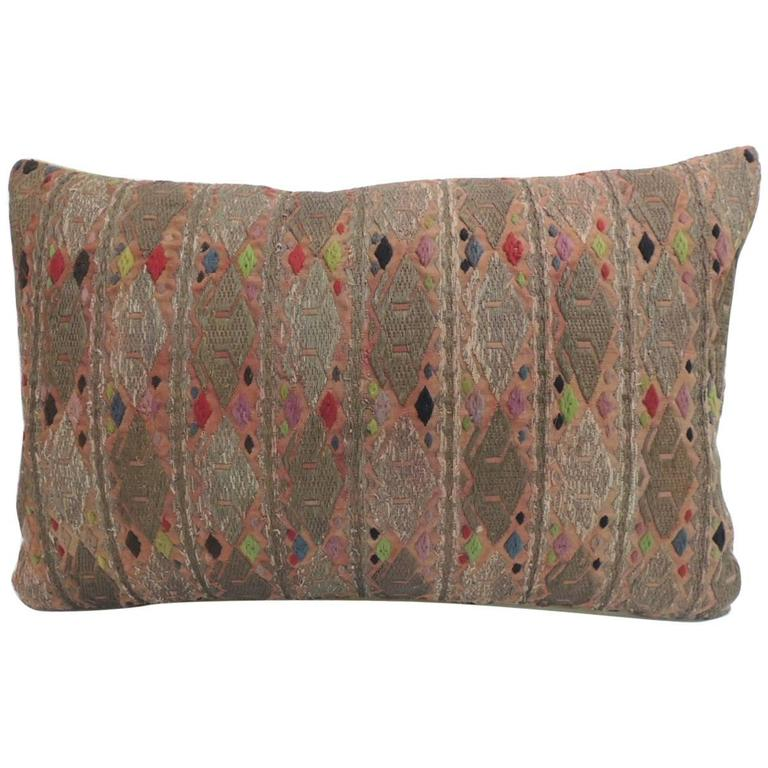 19th Century Embroidered Asian Long Bolster Decorative Pillow For Sale