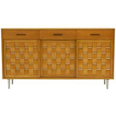 Edward Wormley for Dunbar Woven Front Storage Cabinet/Sideboard, Excellent