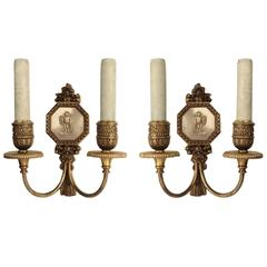 Pair of American E. F. Caldwell Two-Light Wall Sconces