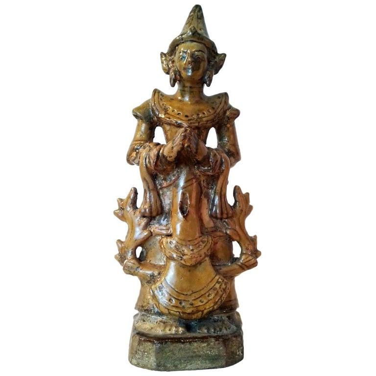 Thai Ceramic Angel Statue For Sale