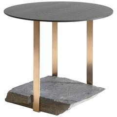 Missisquoi 05 End Table in Ash, Natural Stone and Gold Plating by Simon Johns