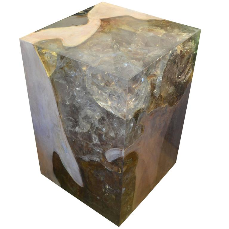 Andrianna Shamaris St. Barts Resin and Bleached Teak Wood Side Table