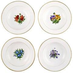 Four Antique Royal Copenhagen Deep Plates in Flora Danica Style