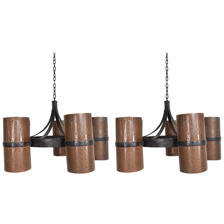 Pair of Hanging Light Fixtures Iron and Copper, Modernist Brutalist
