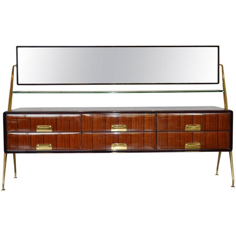 Italian Mirrored Cabinet by Silvio Cavatorta, 1950s