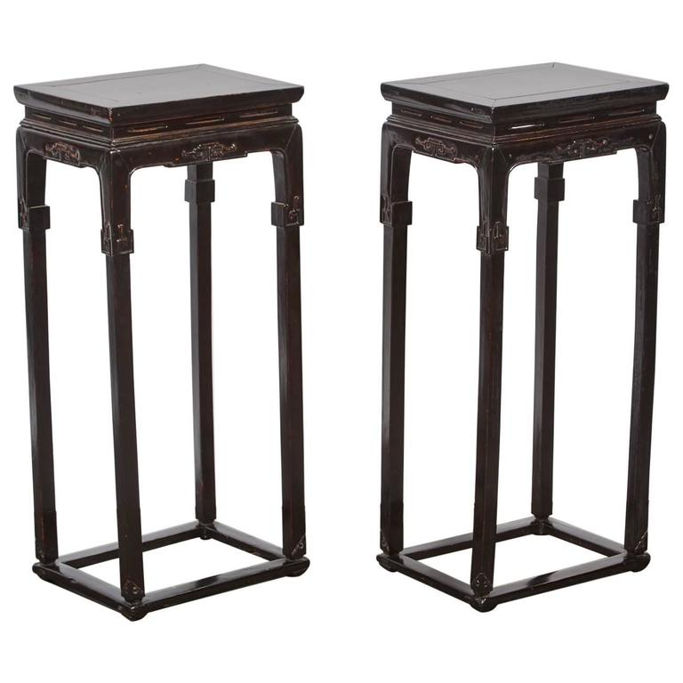 18th century chinese pair of tall thin lacquer tea tables for Tall thin end tables