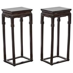 18th Century Chinese Pair of Tall Thin Lacquer Tea Tables