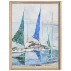 Oil in Canvas Hazel Rakestraw, Sailing Boats California Modern