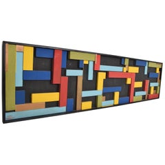 Mid-Century Modern Abstract Art, Brutalist Wood Blocks Unsigned, Modrian Era