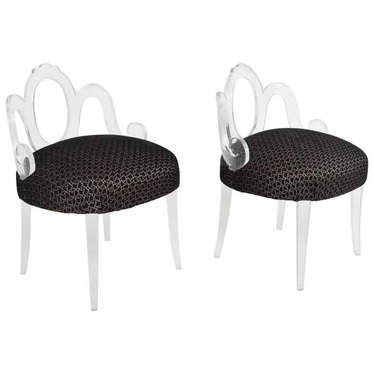 Pair of Vintage Lucite Side Chairs, Attributed Grosfeld House