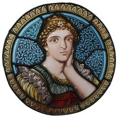 Turn of the Century Stained Glass Painted Rondelle Depicting Sappho