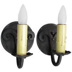 Pair of Single Wrought Iron Spanish Sconces with Round Backplate
