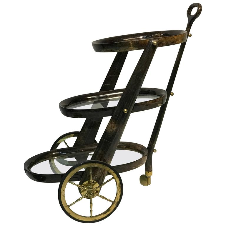 Gorgeous Aldo Tura Three Tier Lacquered Parchment Bar Cart