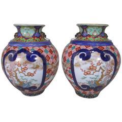 Pair of Meiji Period Koransha Porcelain Imari Vases, circa 1877