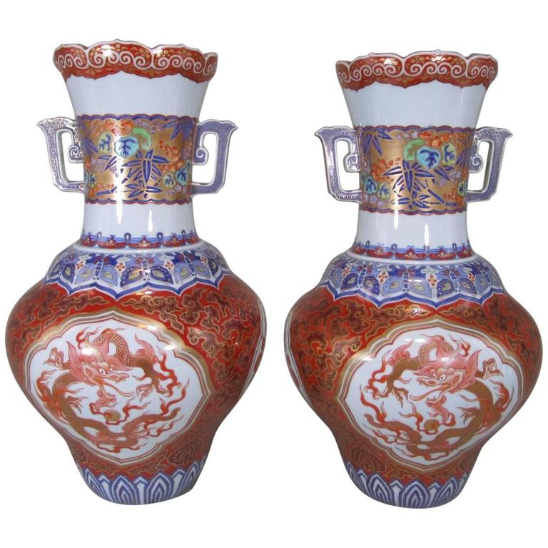 Pair of Massive Japanese Kutani Porcelain Vases Meiji Period, circa 1880