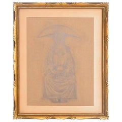 Rafael Coronel Drawing Pencil on Paper, Mounted Giltwood Frame