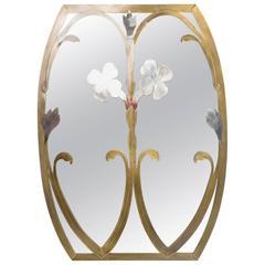 Mid-Century Modern Italian Mirror W Flowers Married Metals
