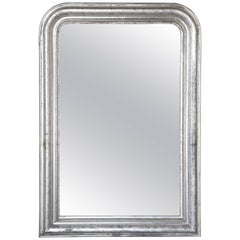 Large 19th Century Louis Philippe Silver Leaf Mirror