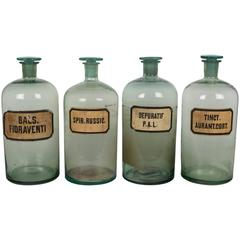 Set of Four French Apothecary Bottles