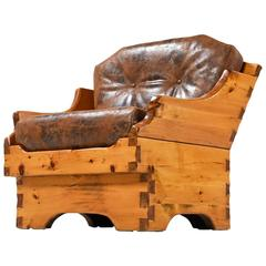 Solid Pine and Leather Hand-Made Rustic Arts & Crafts Style Armchair, 1950's