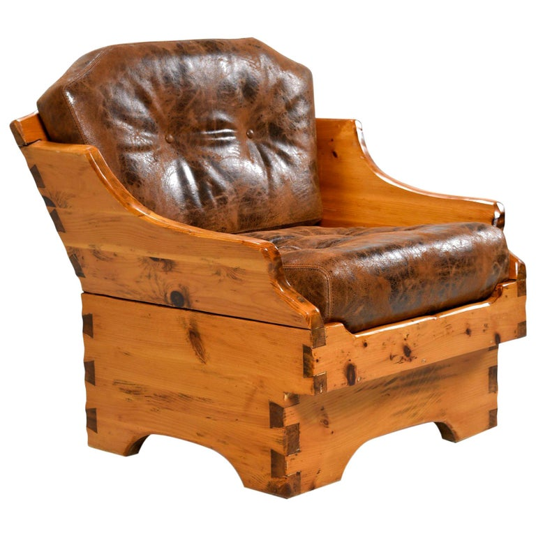 1950s Handmade Rustic Arts & Crafts Style Armchair, Solid Pine and Leather For Sale