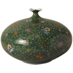 Japanese Contemporary Rotund Porcelain Vase by Sho-un, Master Artist