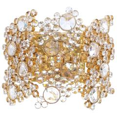 Large Gilt Brass Crystal Glass Encrusted Wall Lamp by Palwa