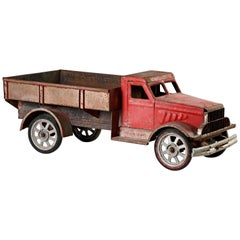 Large Old Polychrome Painted Metal Model of a Lorry