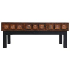 Rosewood and Copper AB Glas and Trä Rosewood Hall Table