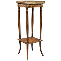 Antique Jardiniere, French Galleried Marble Stand, circa 1850