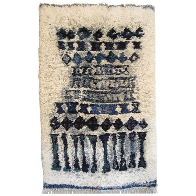 Blue And White Scandinavian Rug: Blue And White Rya Rug From Finland For Sale At 1stdibs
