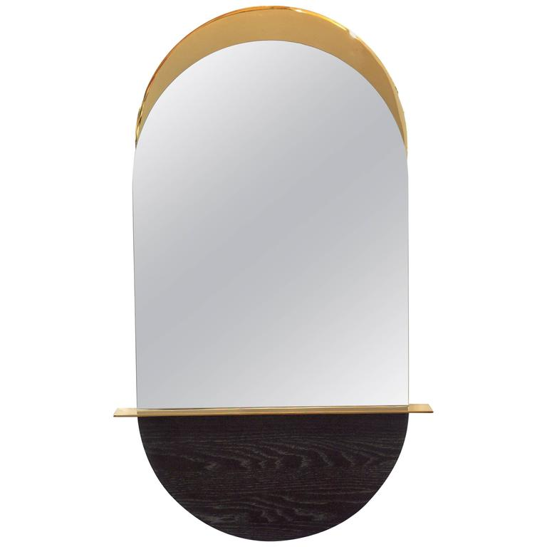 Solis Mirror, Small, in Lacquered Brass and Blackened Ash by Simon Johns For Sale