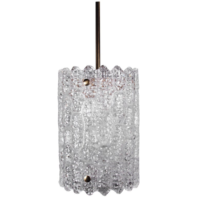 Carl Fagerlund for Orrefors Mid Century Modern Crystal Cylinder Pendant, 1960s